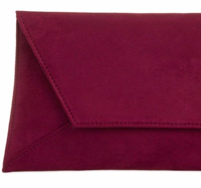 special section closer at structural disablities Burgundy Clutch Bag Ladies Claret Faux Suede Slimline ...